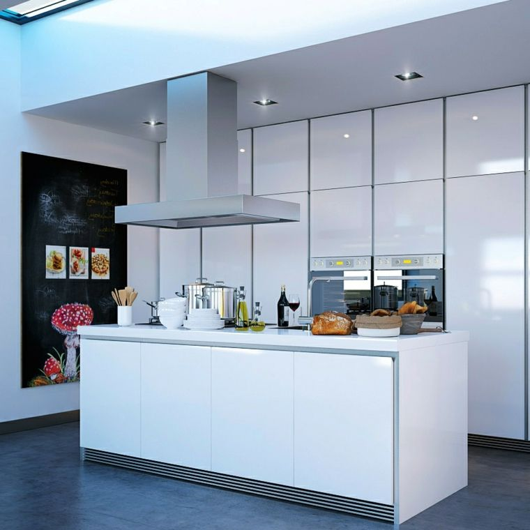 pavimento scuro, immagini cucine moderne bianche laccate con isola ...