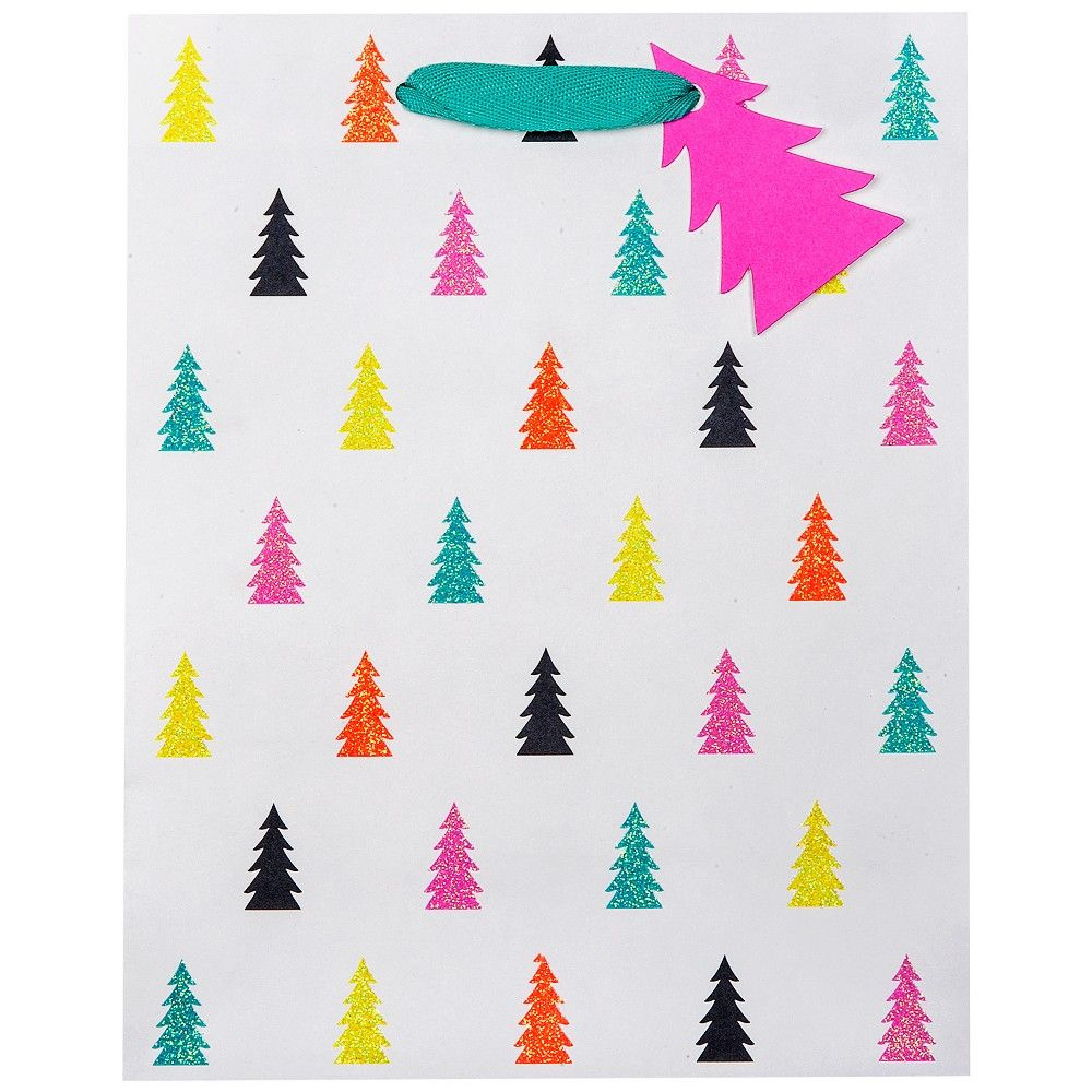 White with Glitter Trees Gift Bag Large - Wondershop ...