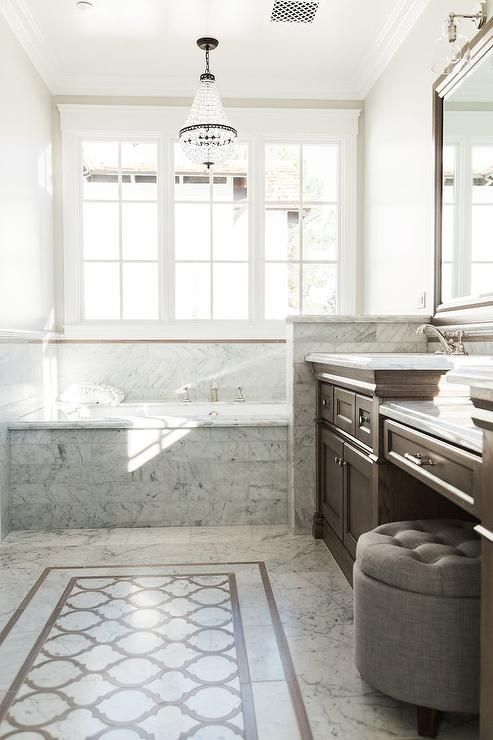 Brown And Gray Bathroom Features A Brown Washstands Topped