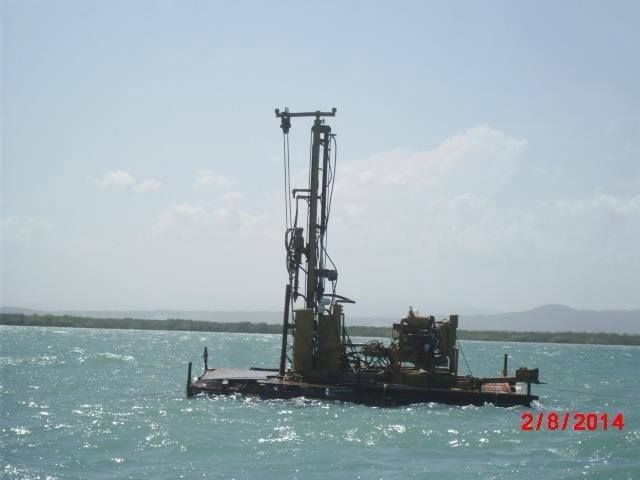 China Harbour Engineering Company starts drilling test boreholes at Goat Islands. August, 2014.