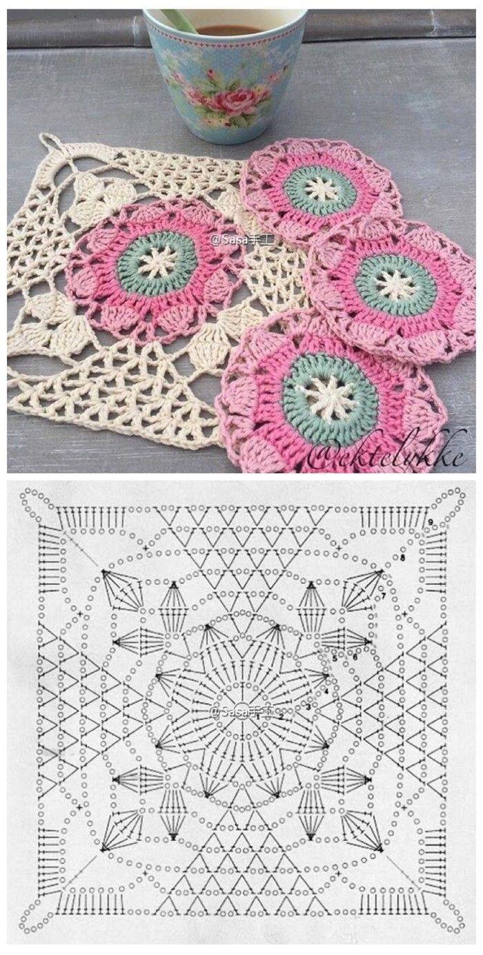 钩织 图解❤ 蕾丝 花片   Crochet   Pinterest   Ganchillo, Cuadrados ...