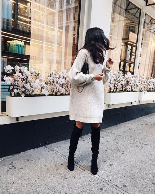 Jumper dress and high boots \u2026