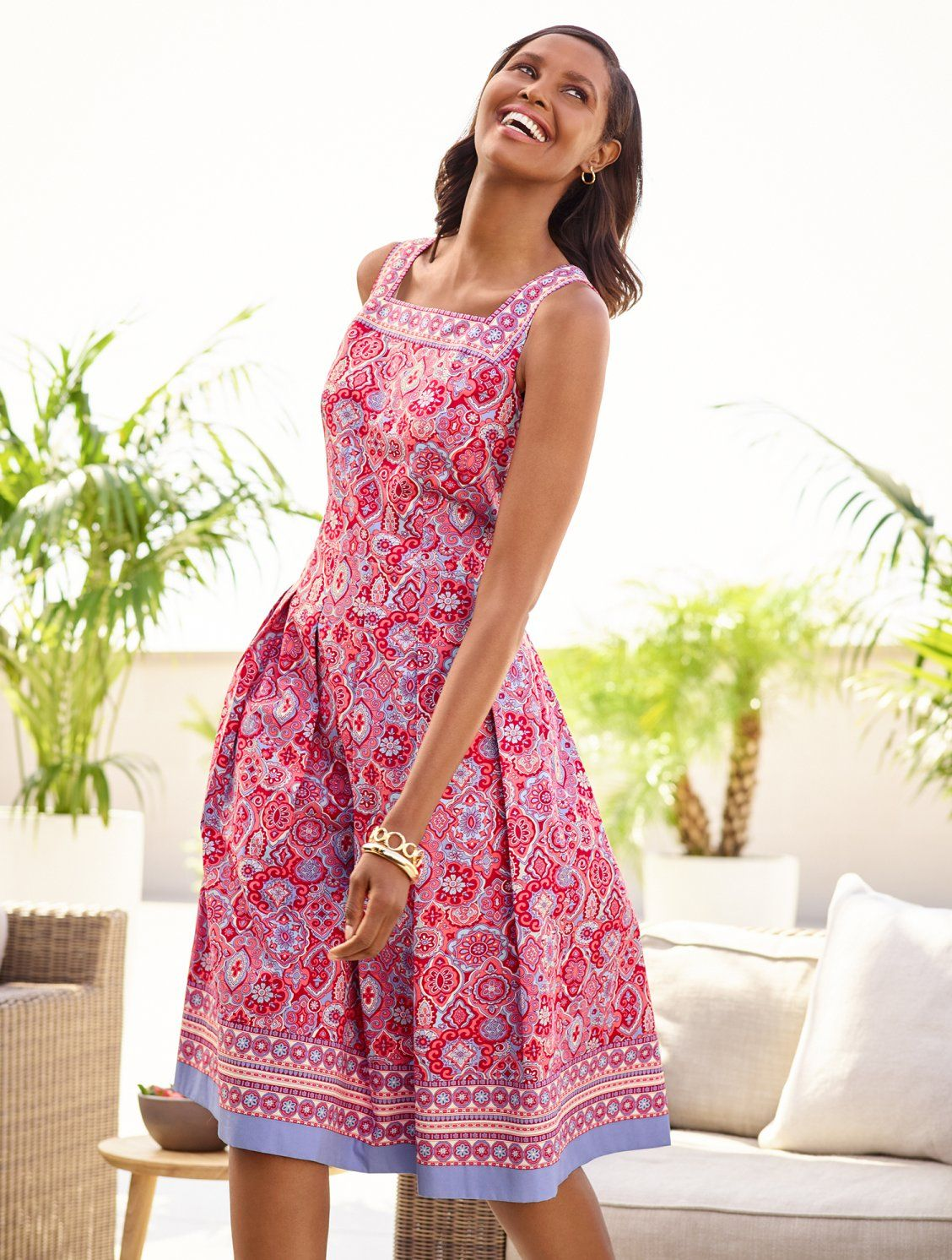 A Pretty Print Plus A Contrasting Border At The Neckline And Hem Makes This Fit Flare Dress In Cool Co Flare Dress Casual Fit Flare Dress Fit N Flare Dress [ 1492 x 1128 Pixel ]