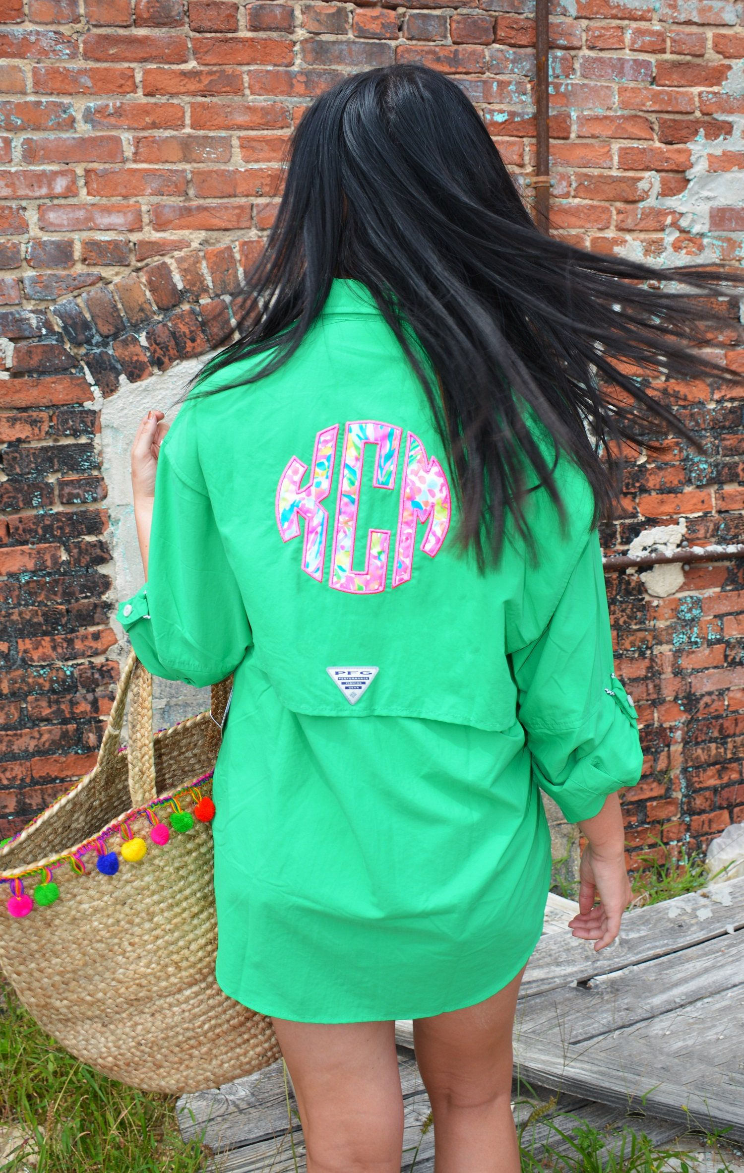 Monogram Fishing Shirt Preppy Lilly Pulitzer Monogrammed Columbia PFG Fishing Shirt Cover Up by TantrumEmbroidery on Etsy