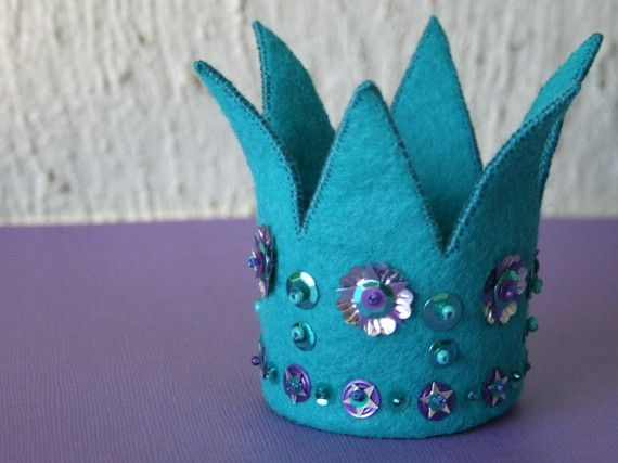 Items similar to Mini Felt Crown - turquoise with purple and silver sequins (no.8 in series) on Etsy