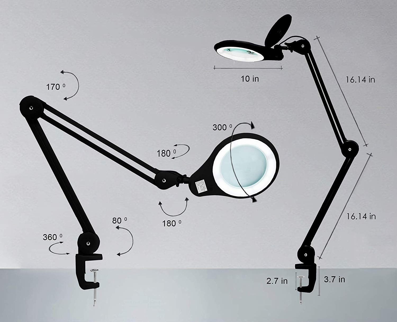 Lens SMD LED Magnifying Lamp with Clamp 3 Diopter 7 in
