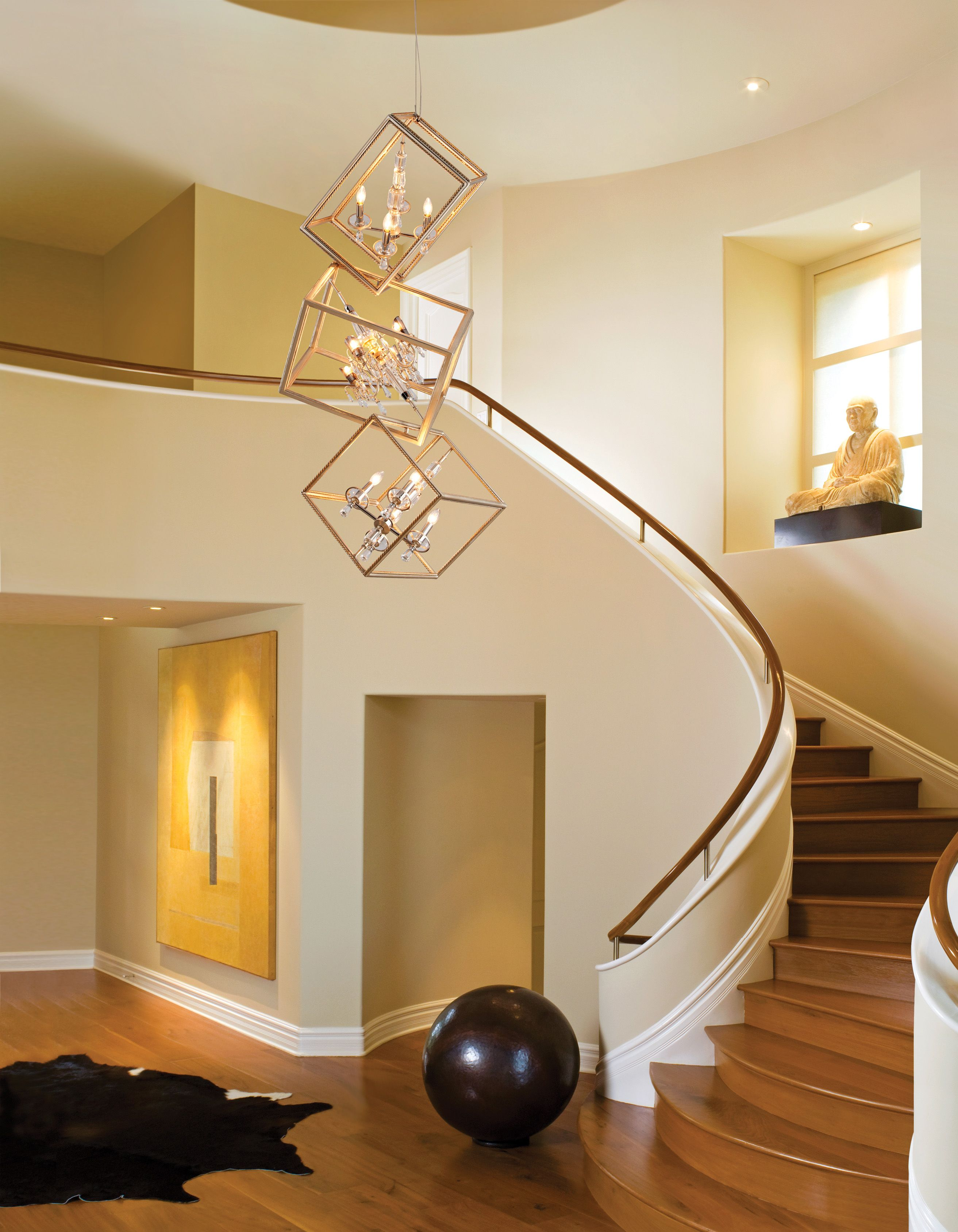 Interior Modern 2 Story Entryway Lighting Design With