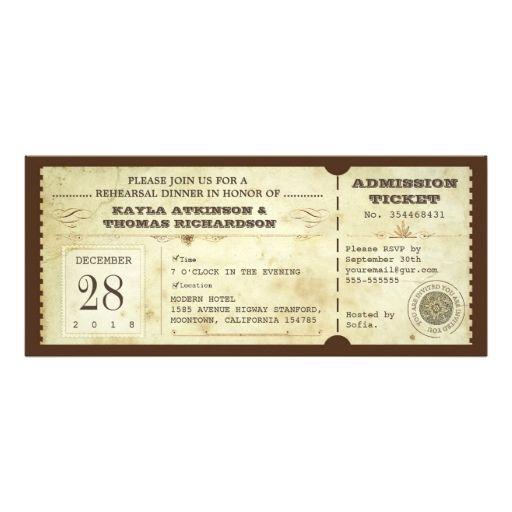 vintage typography rehearsal dinner ticket -invite