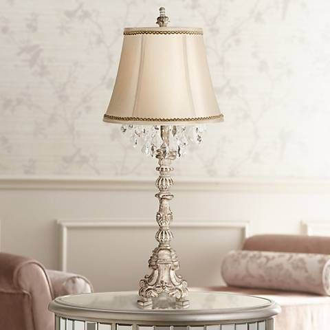 Duval french crystal table lamp with brown and gold trim