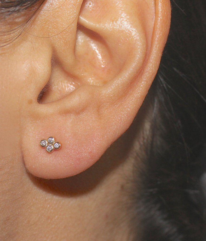 Nose piercing post  Dainty Gold Vermeil Honeycomb Studs With bezel zircon Delicate
