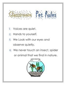 CLASSROOM PET RULES - TeachersPayTeachers.com