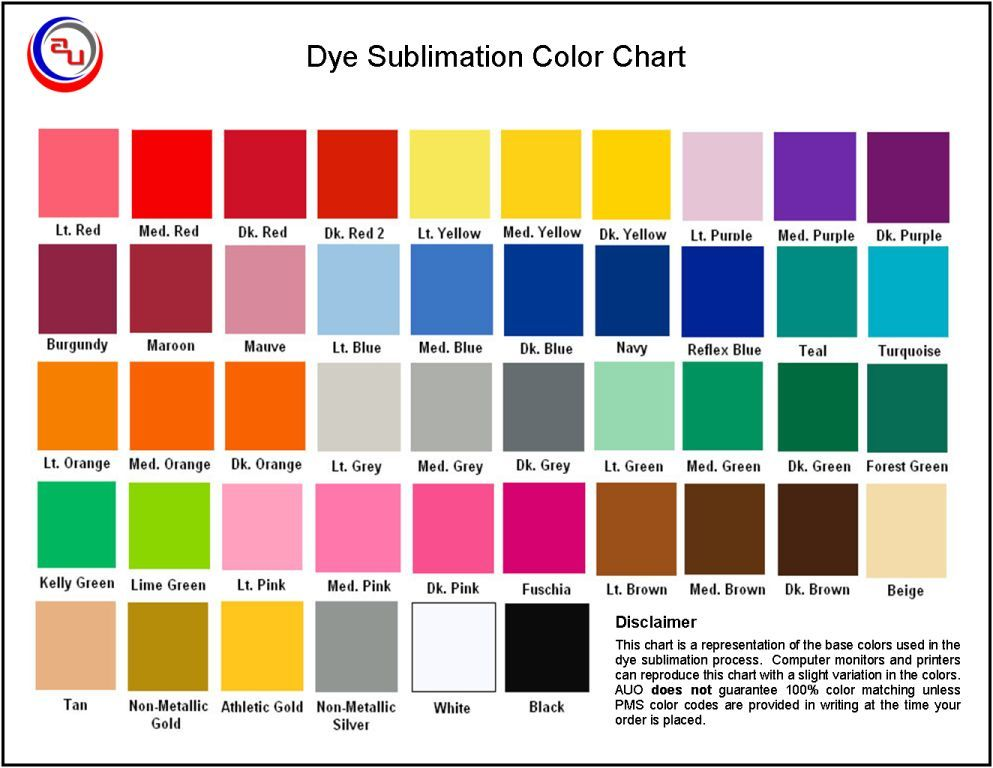 Sublimated Apparel Color Chart By Auo Sublimated Uniforms