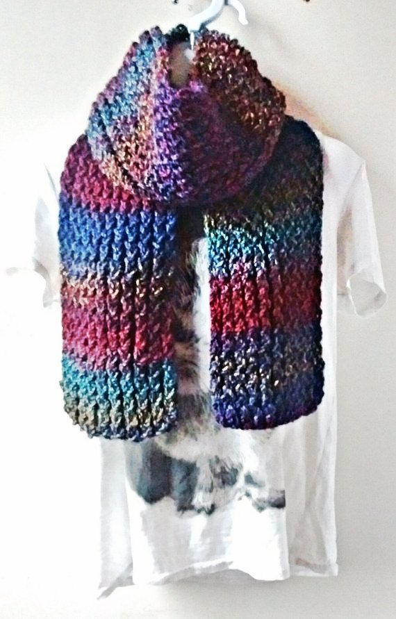 Blue Knit Scarf Chunky Knit Scarf Knitted Scarves Hand