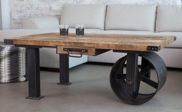 1001 Idees Meuble Industriel Une Retraite Decorative Bien Meritee Table Basse Industrielle Table Basse Table De Salon