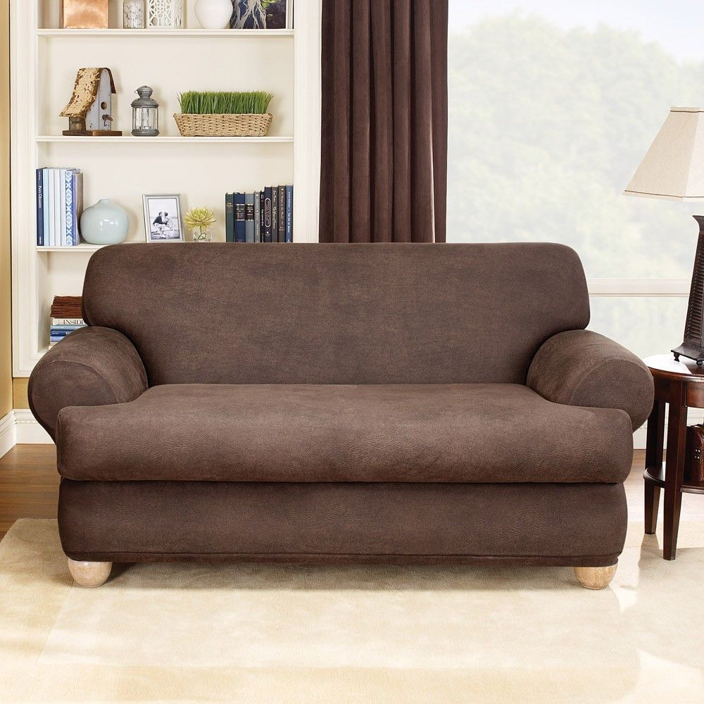 Brilliant Stretch Leather T Cushion Loveseat Slipcover Dream House Onthecornerstone Fun Painted Chair Ideas Images Onthecornerstoneorg