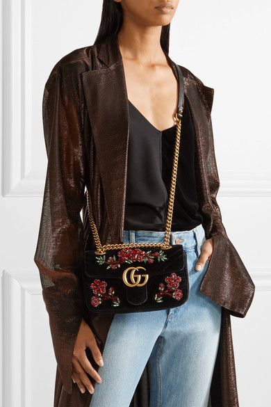 ccf4831e19b GUCCI GG Marmont small beautiful crystal-embellished black velvet shoulder  bag