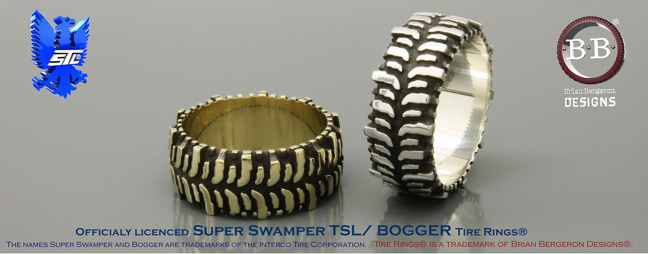 Super Swamper Tsl Bogger Tire Ring Shown In Gold And Silver Brian Bergeron Designs