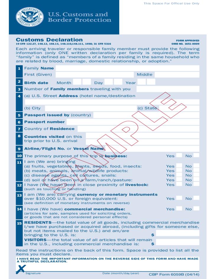 Form 6059b customs declaration time activities pinterest form 6059b customs declaration altavistaventures Gallery