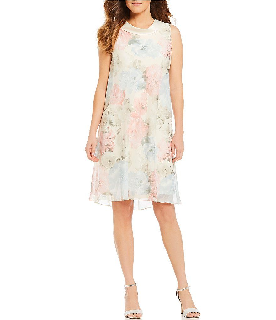 3927472b0cb Ignite Evenings Floral Print Split Back Dress