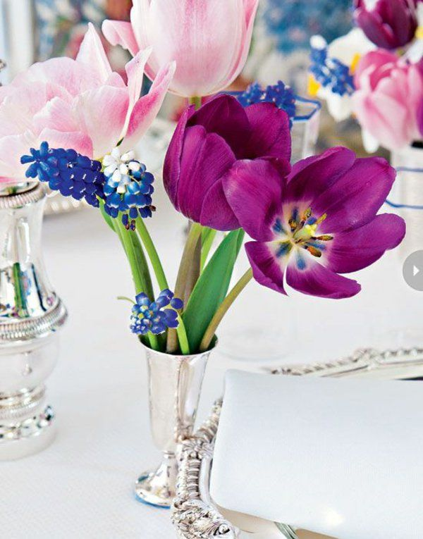 arrange flowers, tulips tischdeko purple