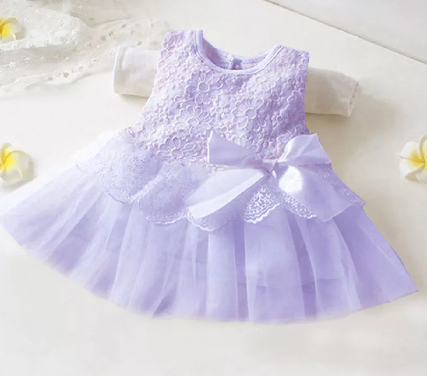 Newborn Baby Girls Sleeveless Princess Party Tutu Lace Bow Flower Petal Dress