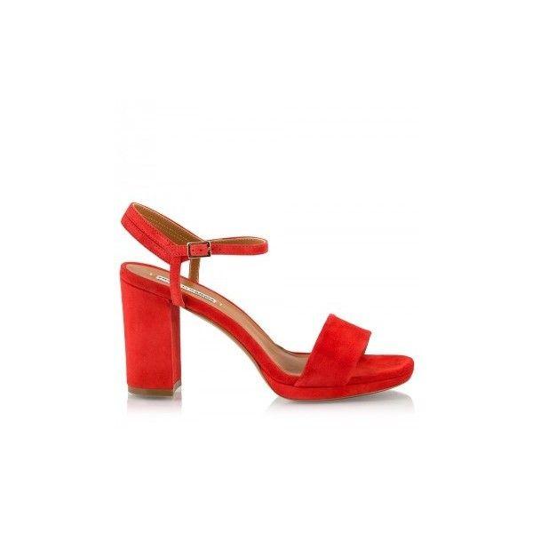 26069f6869c Red suede high block heel sandals Fratelli Karida (951900 PYG) ❤ liked on  Polyvore