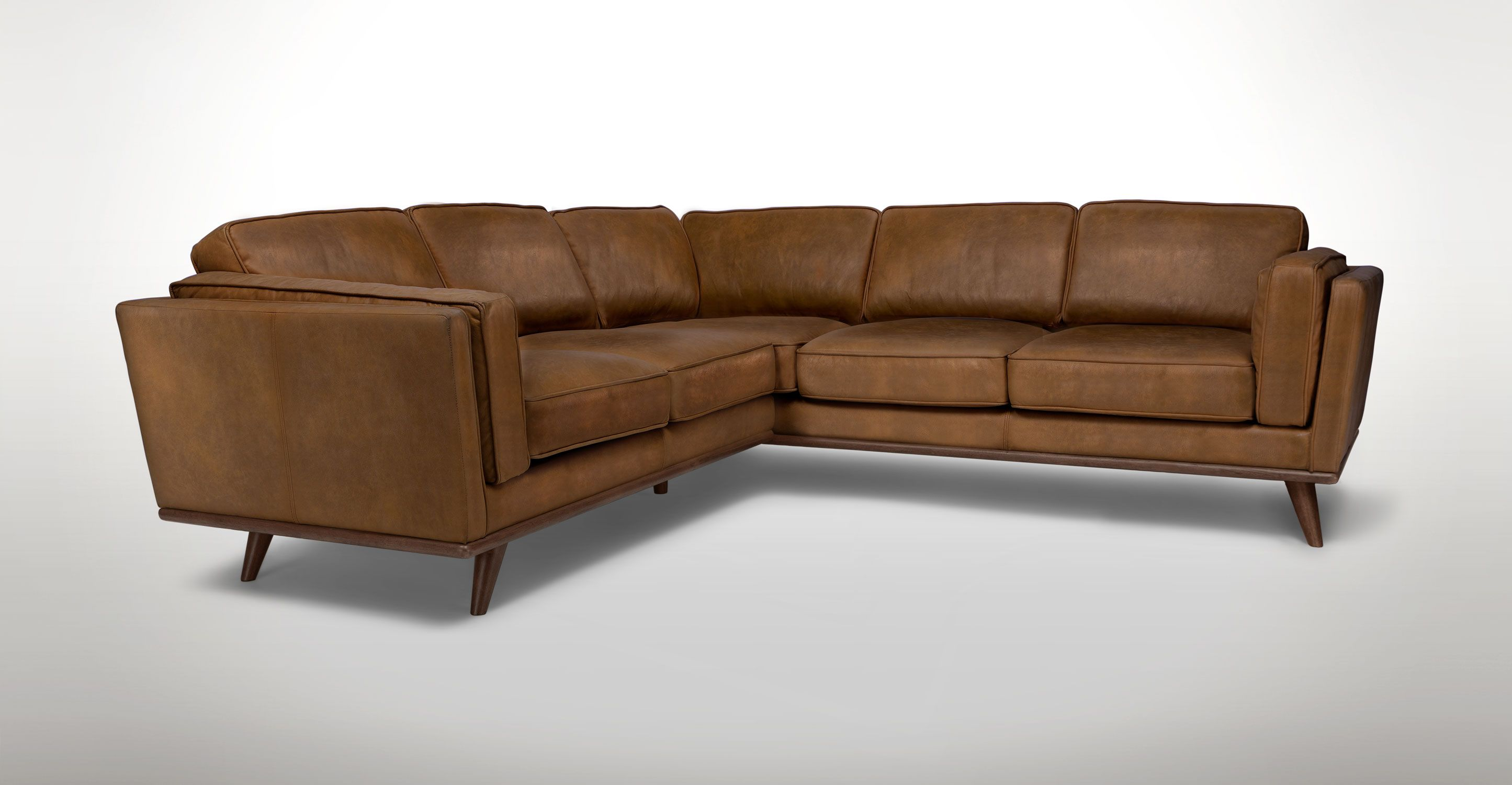 Tan Leather Corner Sectional Upholstered