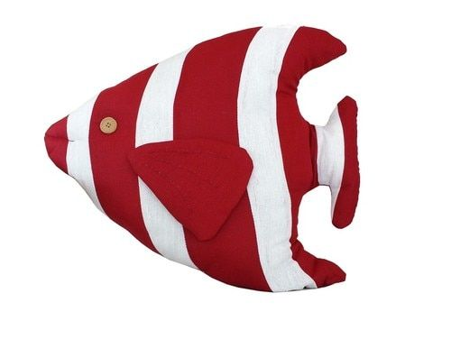 """Red Tropical Fish Pillow 18"""""""""""