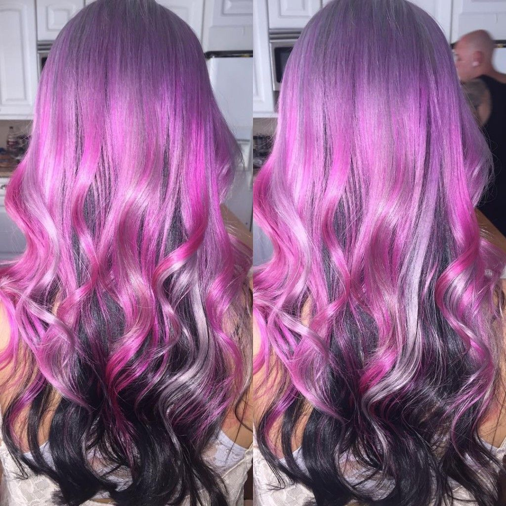 Pink Silver And Black Hair Color Hairstyles Pinterest Black