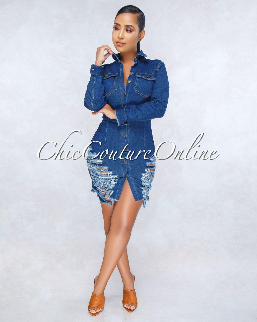 e86551d6383 Chic Couture Online - Rachel Blue Destroyed Denim Midi Dress