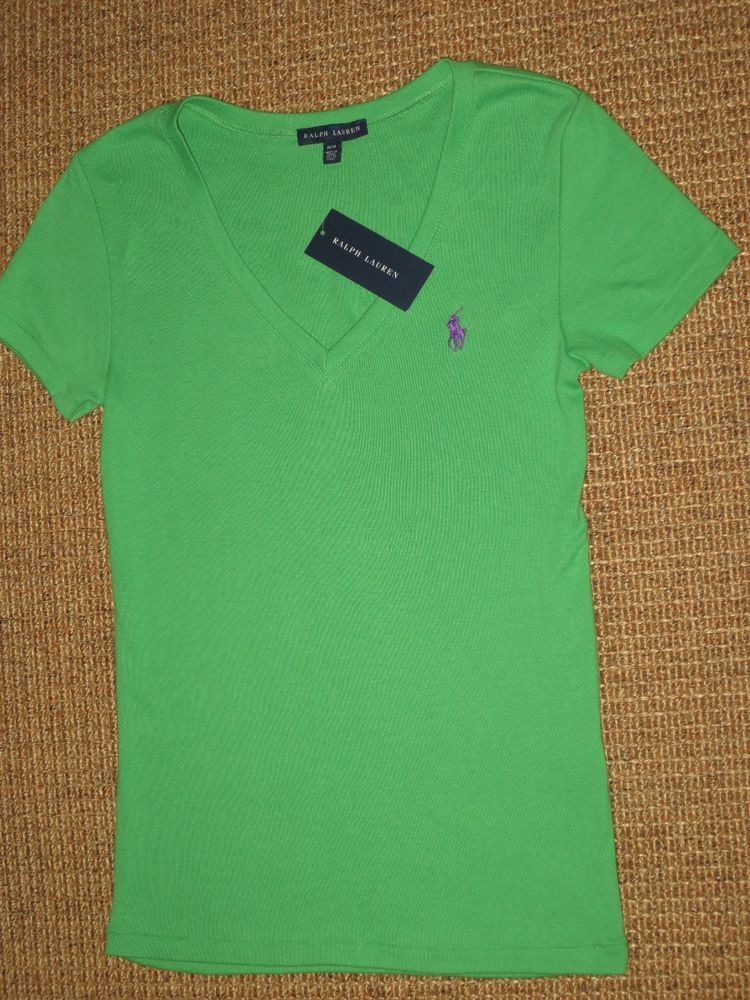 Ralph Lauren Polo Women's Medium New T Shirt Nwt Neck Green V TK1FclJ