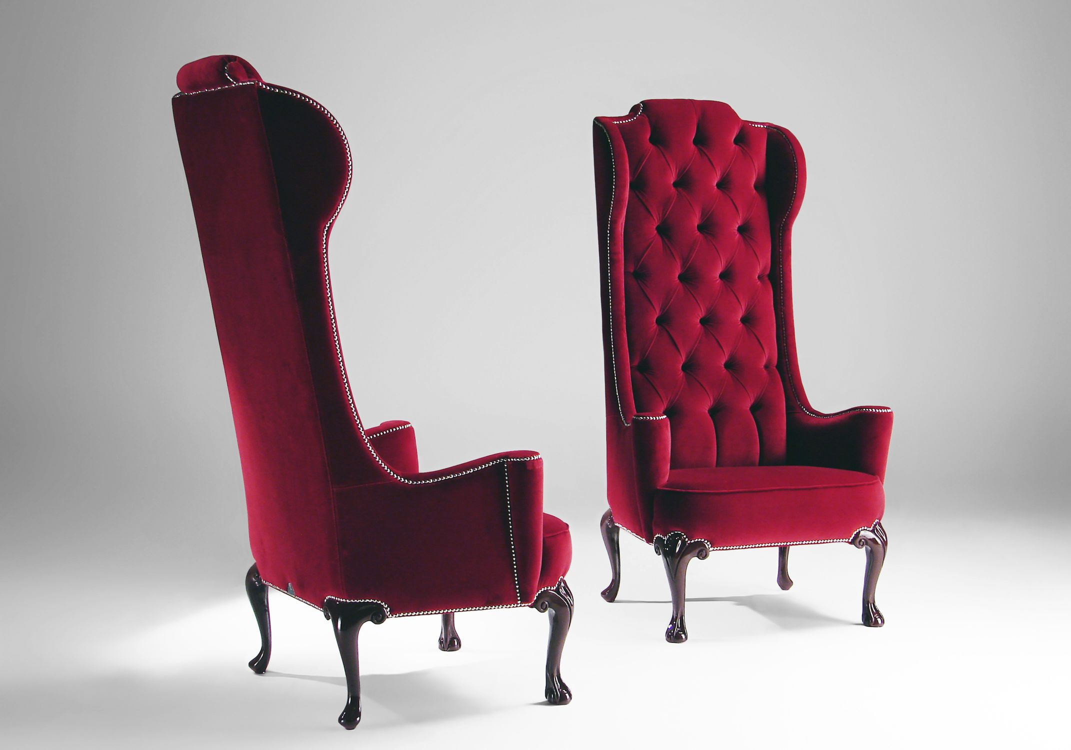 Superbe Attractive Classic Style Red Upholstery Velvet Armchair Eva Mantellassi  With Long Tufted Backrest And Dark Small .