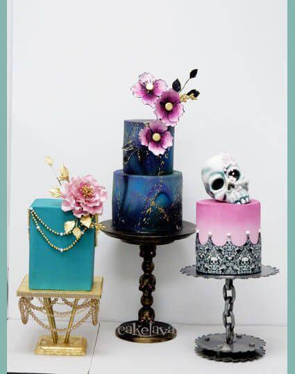 Trio Of Wedding Cakes With Custom Made Stands By Cakelava Las Vegas NV