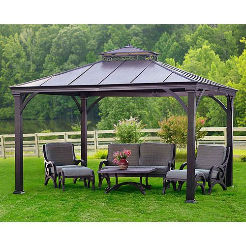 12 X 10 Metal Gazebo Heavy Duty Outdoor Hard Roof For Patio Sets