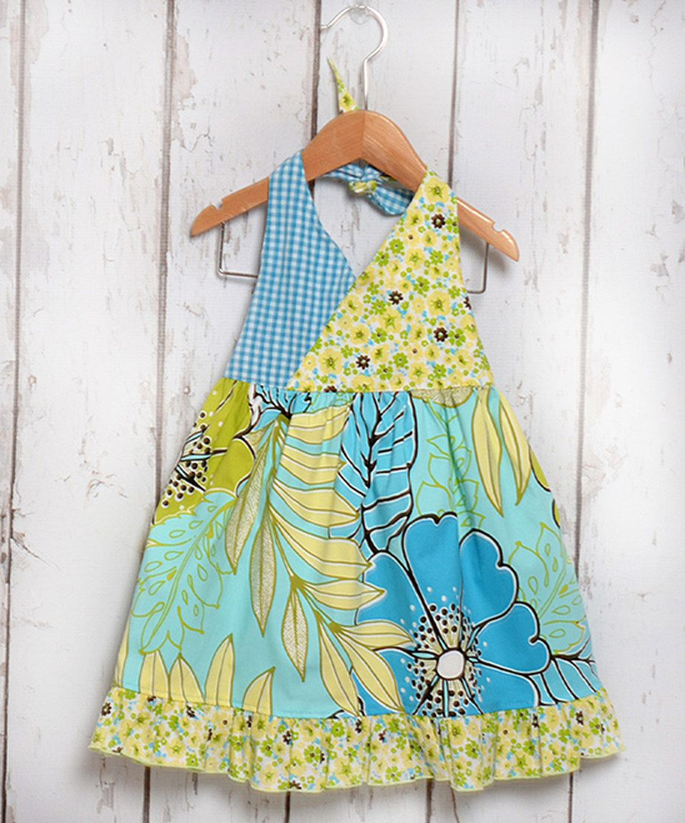 Love this Green & Turquoise Floral Halter Dress - Toddler & Girls by Beary Basics on #zulily! #zulilyfinds