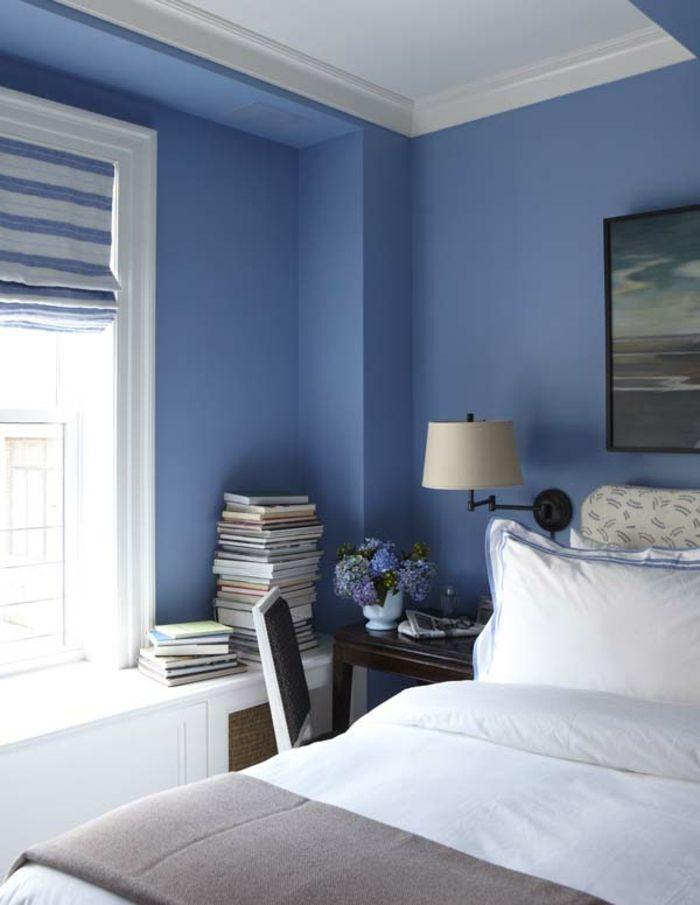 decoracion de paredes, dormitorio en azul, con ventanas y estores - decoracion de paredes