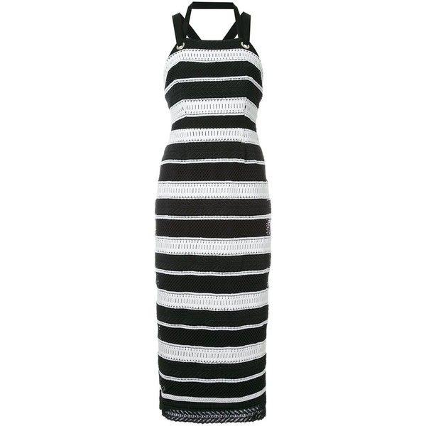 Rebecca Vallance 'Testa' apron midi dress (7.385.515 IDR) ❤ liked on Polyvore featuring dresses, black, calf length dresses, apron dress, midi dress and mid calf dresses