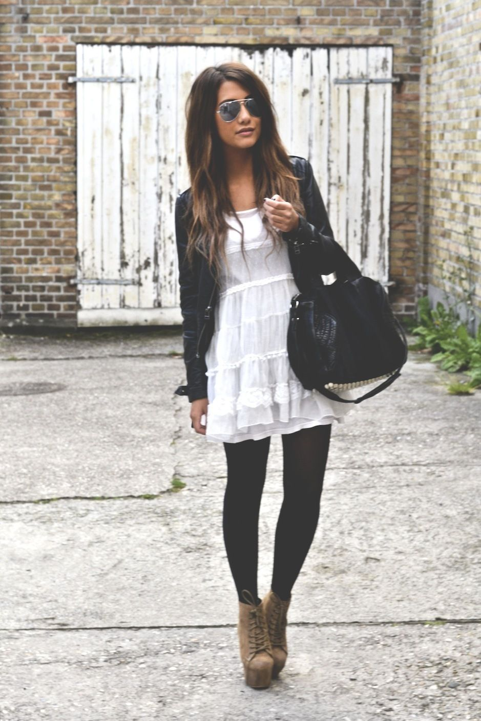 Black White Dress with Boots