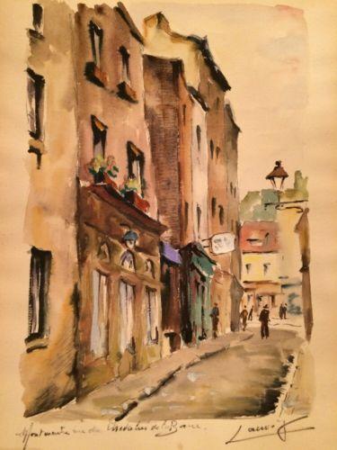 Art Windowpub Com Vintage 50 S Cityscape Paris Watercolor Painting