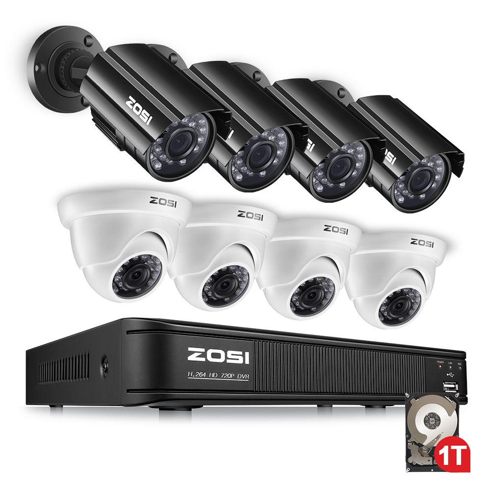 ZOSI 1080N HDMI DVR 1280TVL 720P HD Outdoor Home Security Camera ...