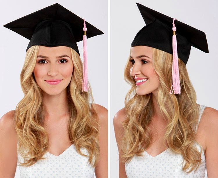 Lulus How To Graduation Cap Hair Tutorial Lulus Com Fashion Blog Graduation Hairstyles With Cap Graduation Hairstyles Cap Hair
