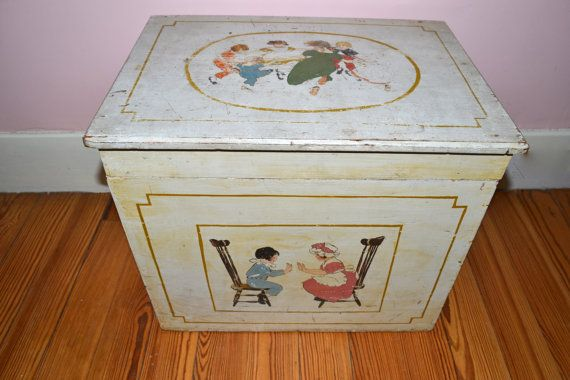 Hey I Found This Really Awesome Etsy Listing At Https Www Etsy Com Listing 222012157 1920s Antique Wooden Painted Toy Chest Wooden Hand Childrens Toy Boxes
