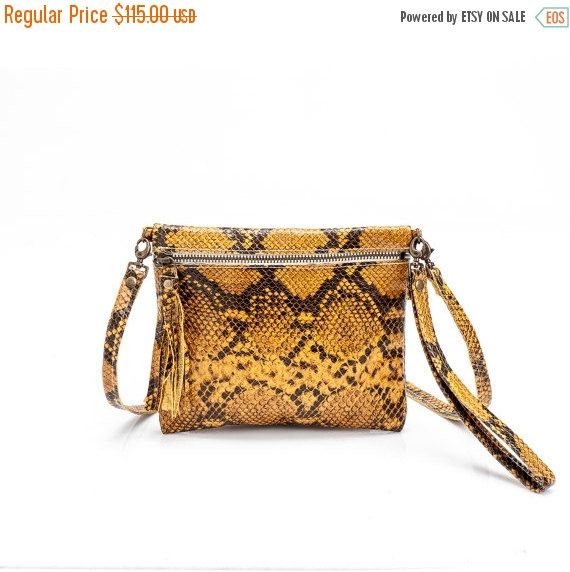 On Sale Clutch purse, Women leather bag , Yellow python leather handbag, Handmade clutch wallet, Sale and FREE SHIPPING!