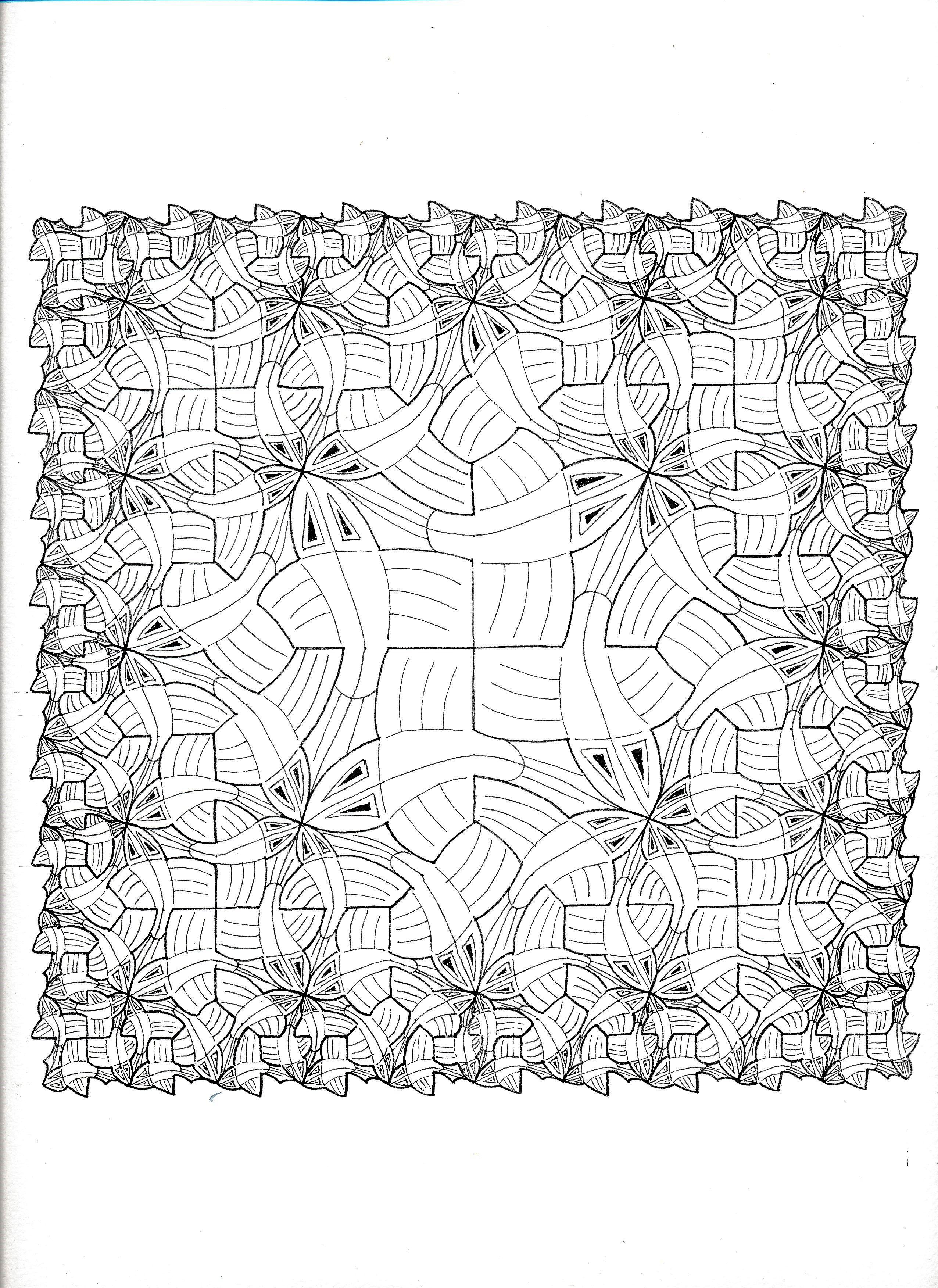MC Escher 120 Symmetry Geometry Pattern Tessellation Mathart Regolo54 Ink Tiling Handmade Square Triangle