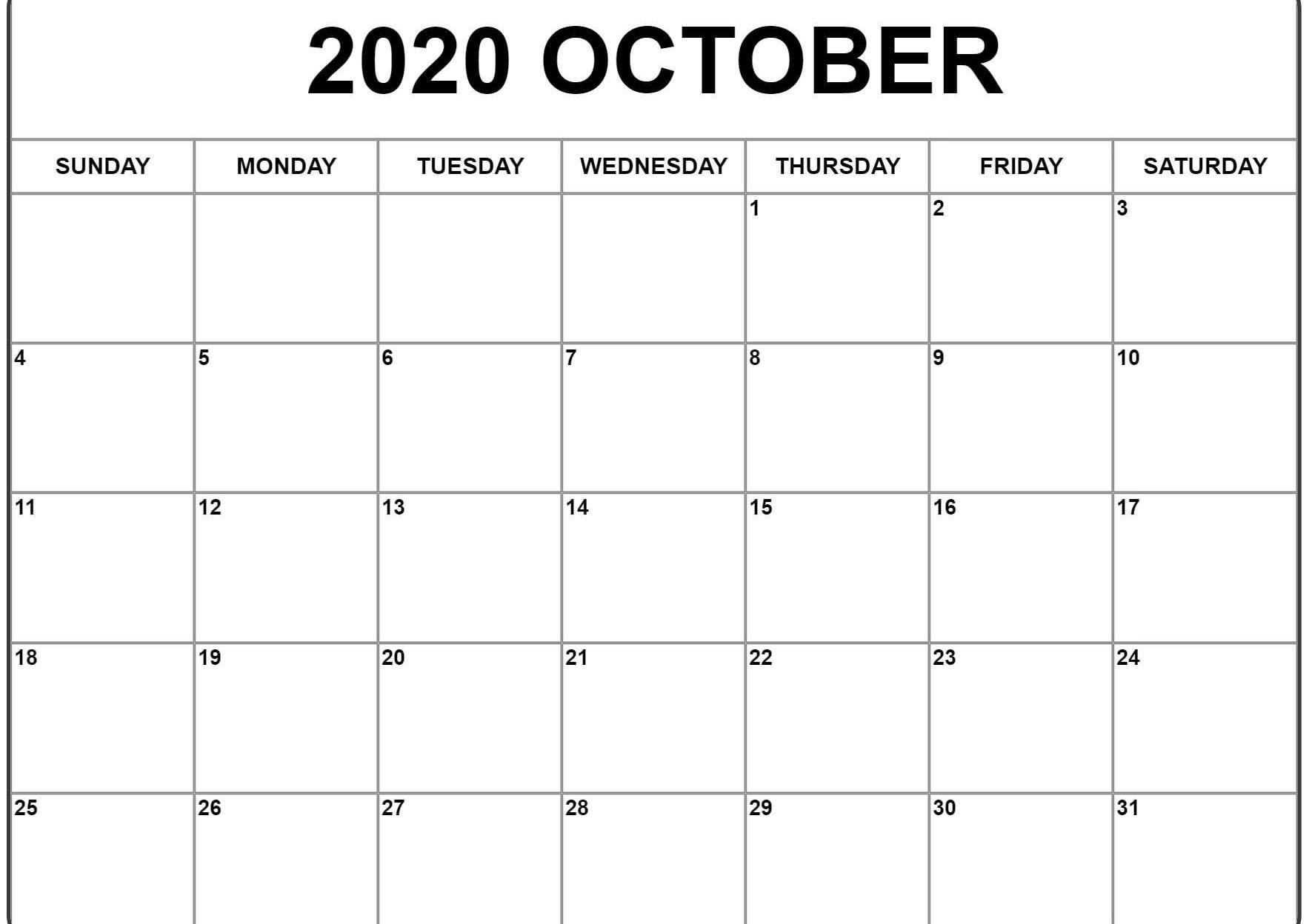 October 2020 Calendar Pdf Word Excel Template Calendar