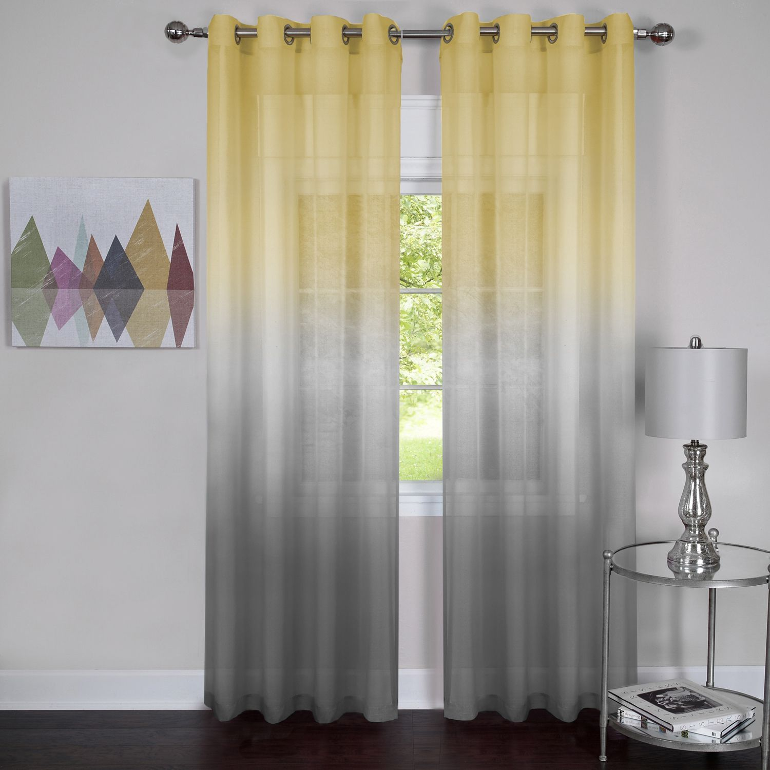 Semi Sheer Ombre Curtain Panel (63 Inches - 52 x 63 - Grey/Yellow ...