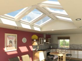 Create an atrium with velux roof windows house roof for Where to buy atrium windows