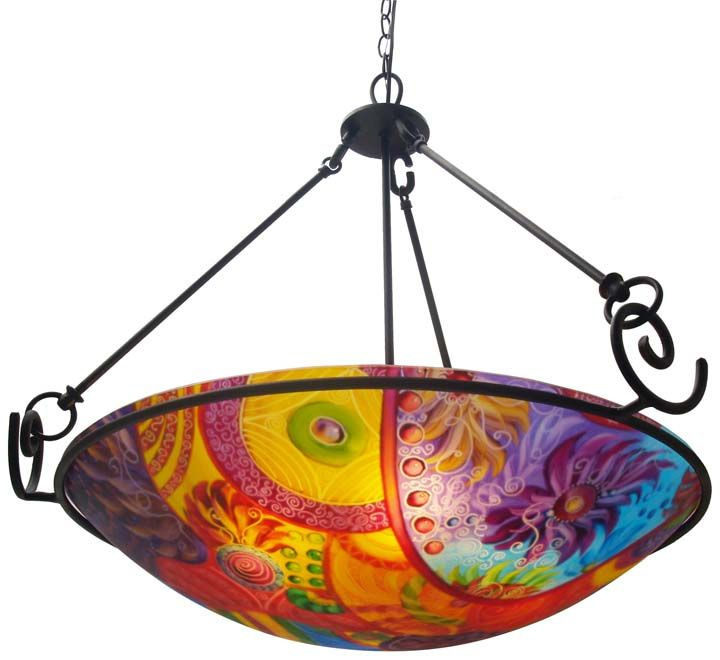 Circles of Color reverse painted abstract chandelier by artist