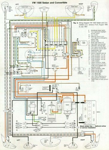 '66 and '67 vw beetle wiring diagram  '