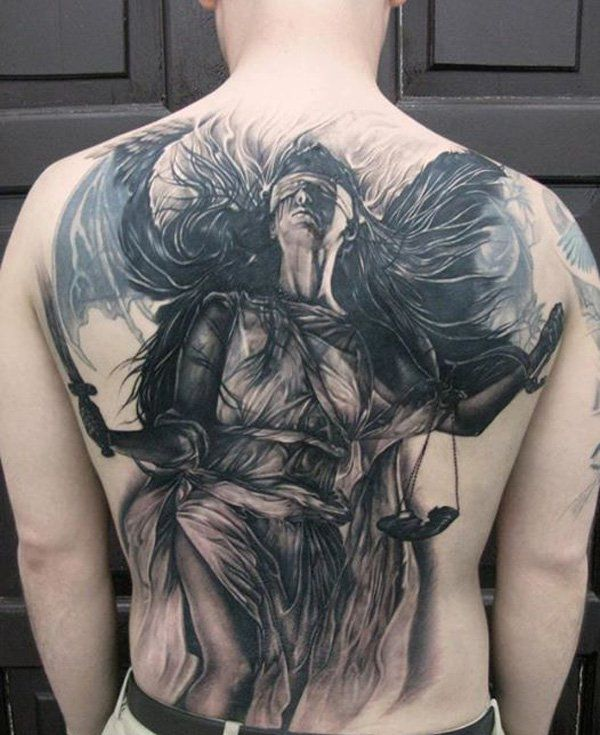 50 Amazing Tattoo Pictures Cuded Justice Tattoo Picture Tattoos Cool Tattoos